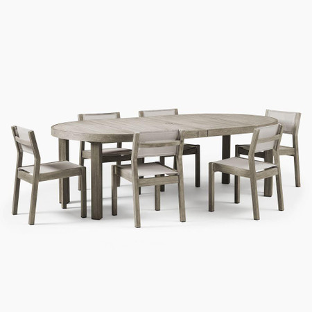 Portside Outdoor Expandable Dining Table & 6 Textilene Chairs Set