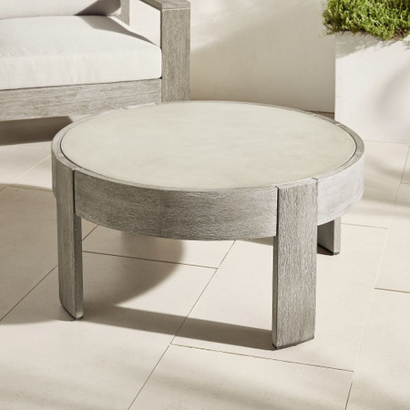 Portside Outdoor Round Concrete Coffee Table - Weathered Grey