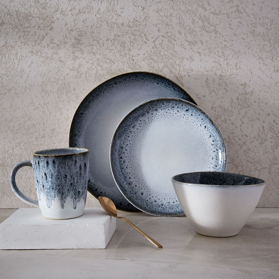 Reactive Glaze Stoneware Dinnerware - Black/White