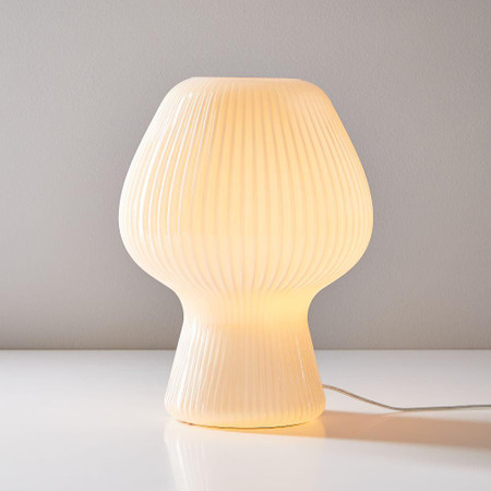 Ribbed Glass Table Lamp