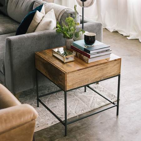 Industrial Storage Side Table