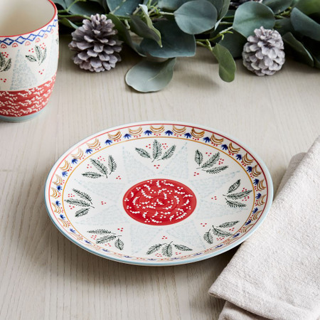Scandi Forest Salad Plate - Red