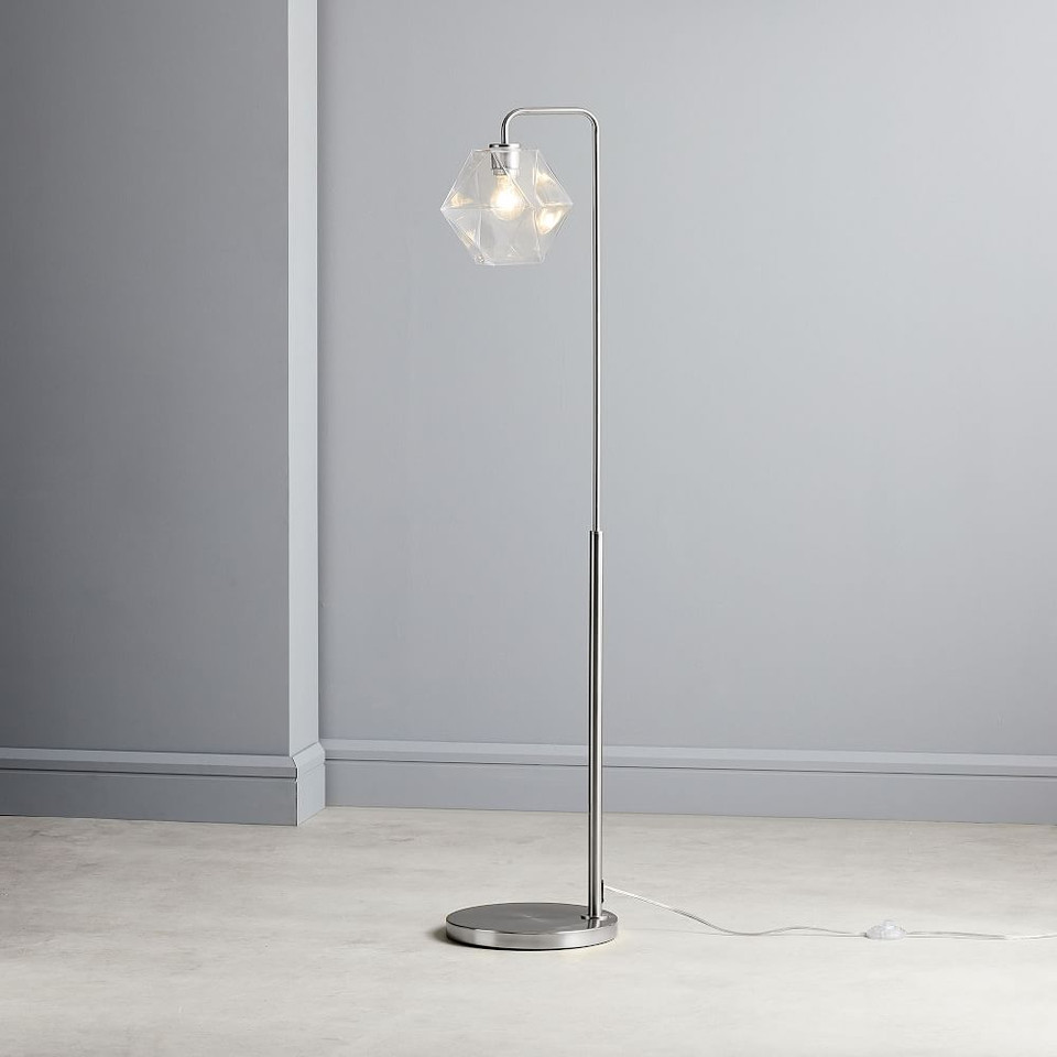 Sculptural Glass Faceted Floor Lamp - Clear