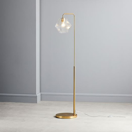 Sculptural Glass Faceted Floor Lamp - Clear (147 cm)