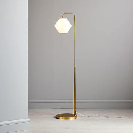 Sculptural Glass Faceted Floor Lamp - Milk (147 cm)