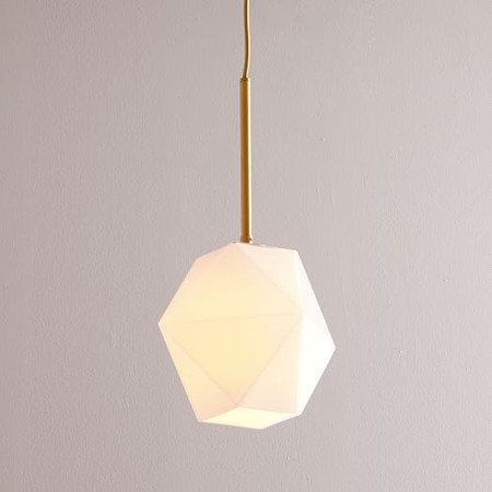 Sculptural Glass Faceted Ceiling Lamp - Small (Milk)