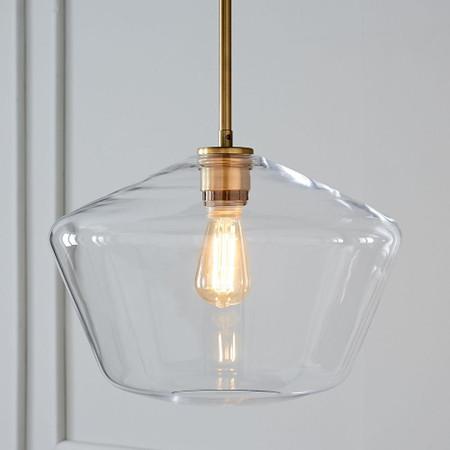 Sculptural Glass Geo Ceiling Lamp Large Clear West Elm United Kingdom