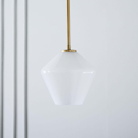 Sculptural Glass Geo Ceiling Lamp - Small (Milk)