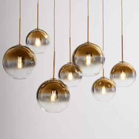 Sculptural Glass Globe 7-Light Chandelier - Mixed (Metallic Ombre)