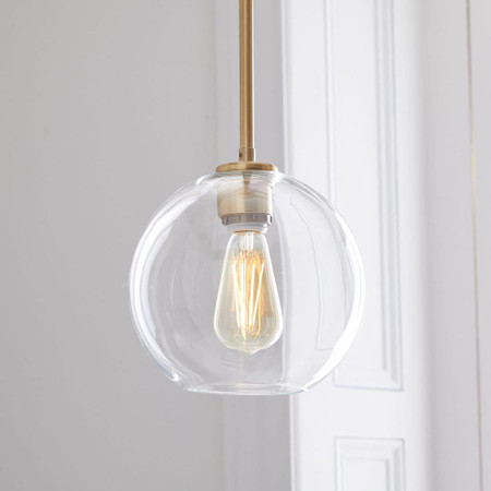 Sculptural Glass Globe Ceiling Lamp Clear West Elm United Kingdom