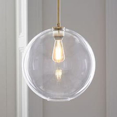 Sculptural Glass Globe Ceiling Lamp - Clear
