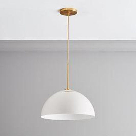 Sculptural Metal Ceiling Lamp - Large (White/Brass)