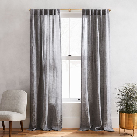 European Flax Linen Curtain West Elm, Sheer Patterned Curtains Uk