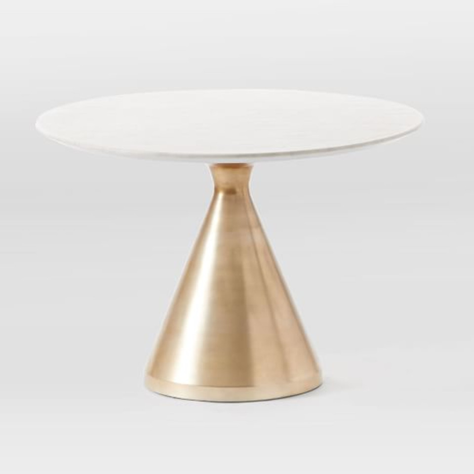 Silhouette Pedestal Round Dining Table - White Marble/Antique Brass