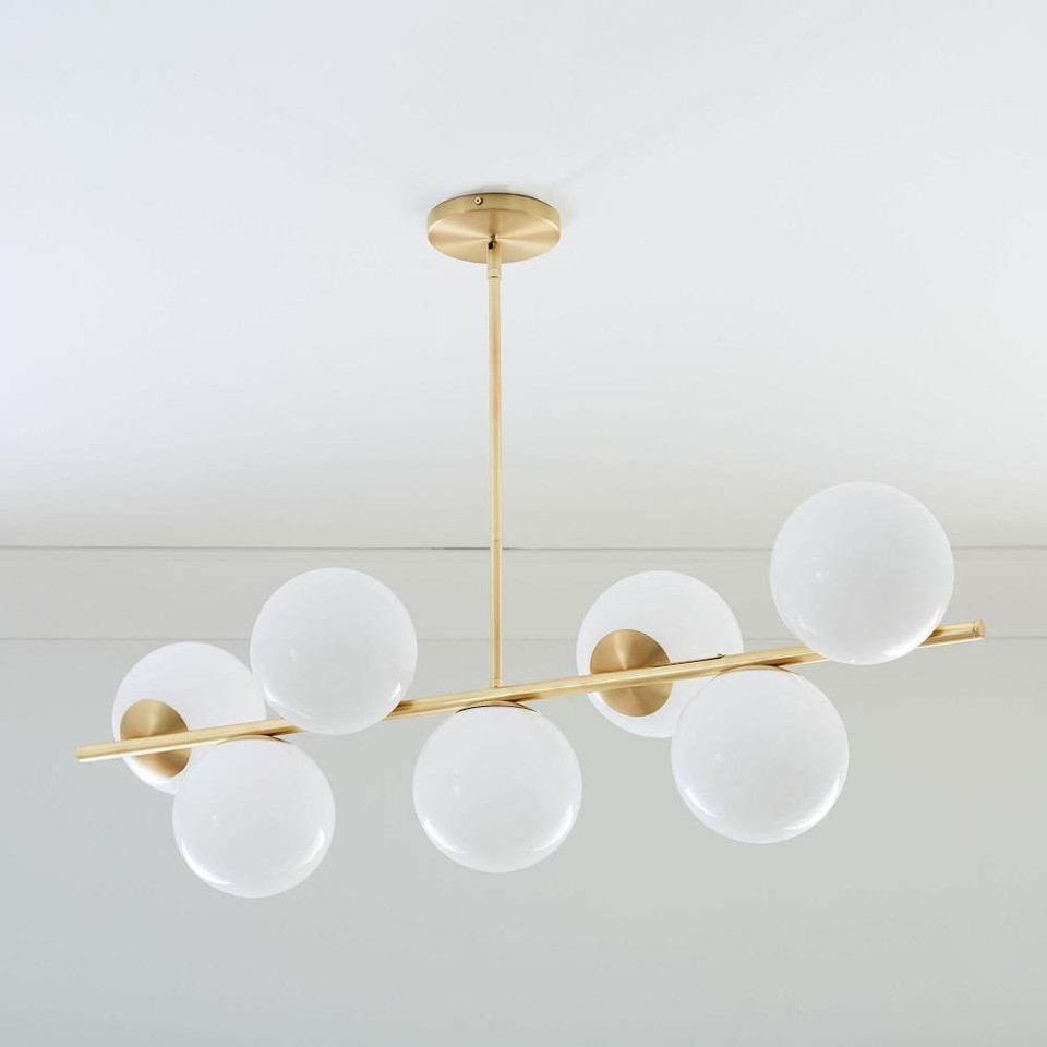 Sphere & Stem 7-Light Chandelier - Brass