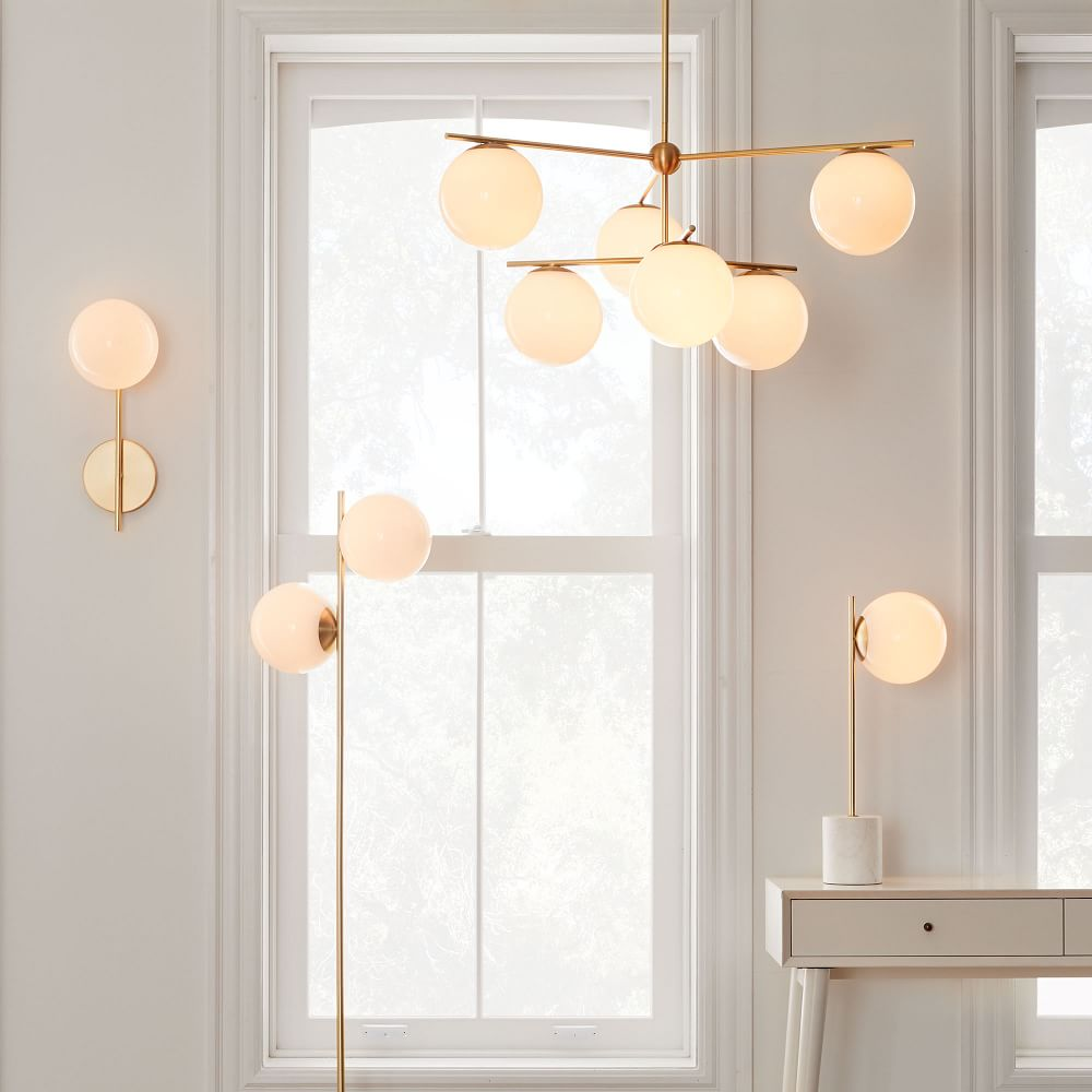 Sphere & Stem 6 Light Chandelier Milk