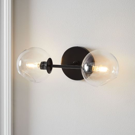 Staggered Glass 2-Light Sconce - Clear