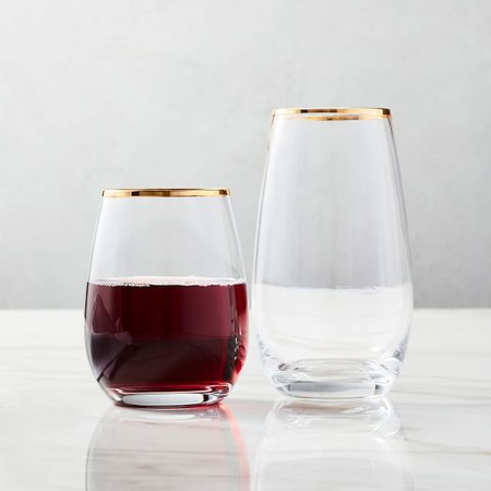 Metallic Rimmed Glassware - Gold