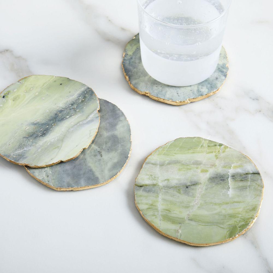 Stone Coasters (Set of 4) - Chartreuse