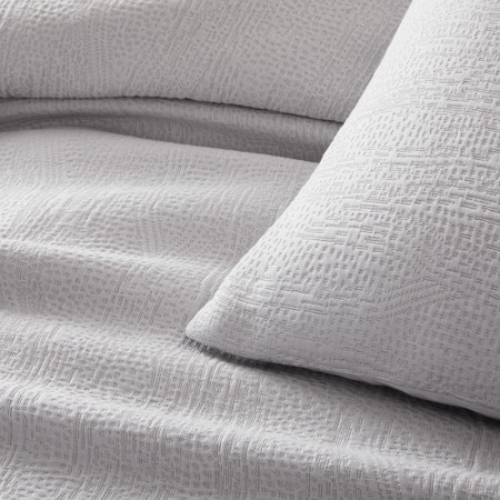TENCEL™ Cotton Matelasse Duvet Cover & Pillowcases - Frost Grey