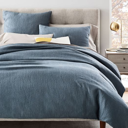 TENCEL™ Cotton Matelasse Duvet Cover & Pillowcases - Stormy Blue