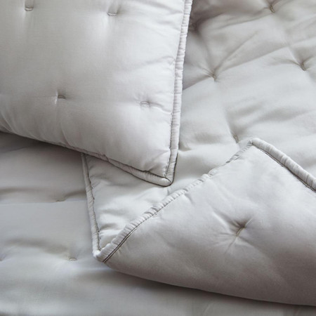 TENCEL™ Crescent Stitch Bedspread & Pillowcases- Frost Grey