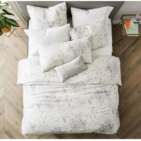 TENCEL™ Feathered Marble Duvet Cover & Pillowcases - Frost Grey