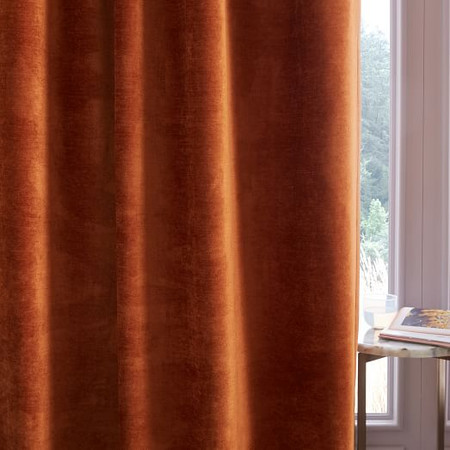 Worn Velvet Curtain + Blackout Lining - Copper