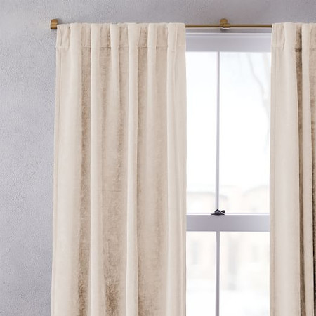 Worn Velvet Curtain + Blackout Lining - Ivory