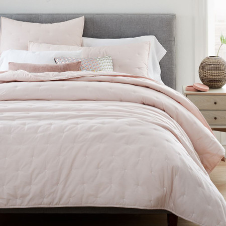 Organic Washed Cotton Percale Bedspread + Pillowcases - Pink Champagne