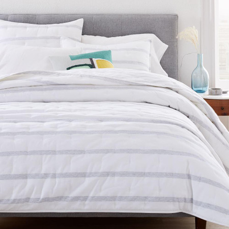 Washed Cotton Percale Reversible Melange Stripe Bedspread