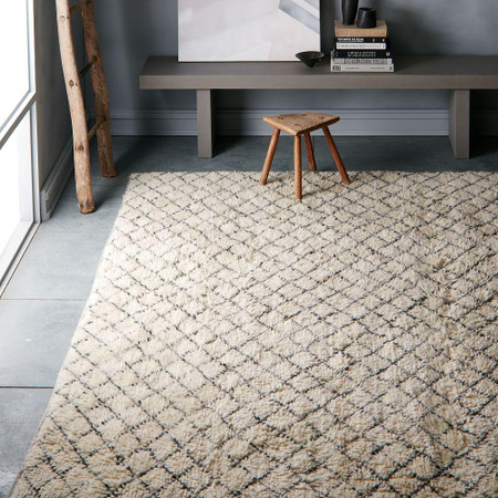Watercolour Trellis Wool Shag Rug - Ivory