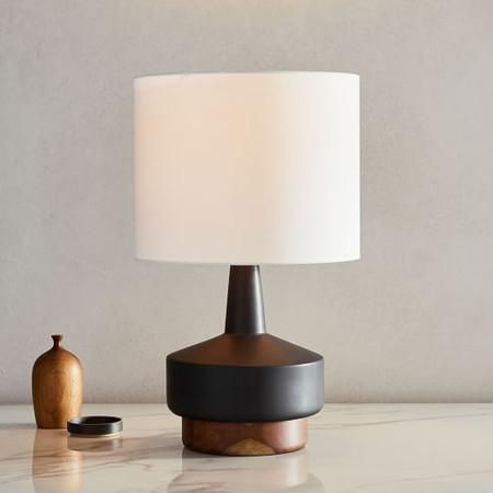 Wood + Ceramic Table Lamp - Medium