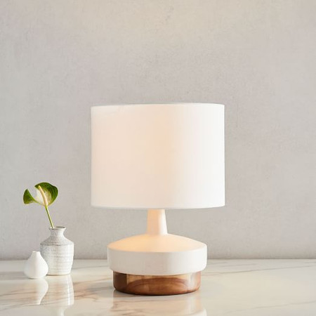 Wood + Ceramic Table Lamp - Small