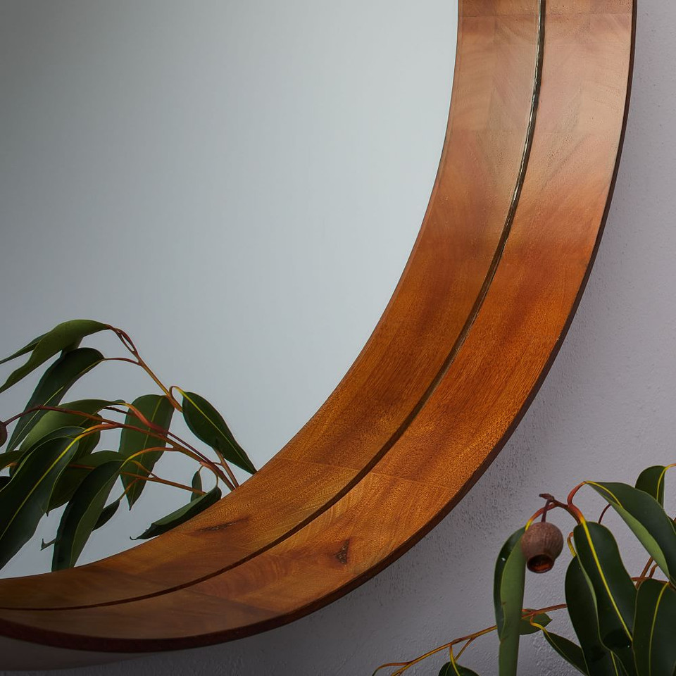 Wood Frame Ledge Round Wall Mirror
