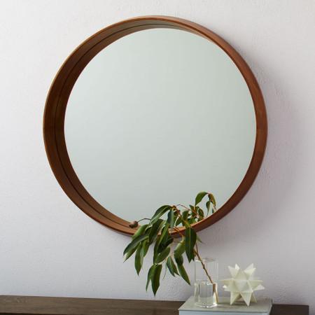Wood Frame Ledge Round Wall Mirror, Round Wood Frame Mirror Uk